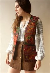 Vintage Indian Embroidered Velvet Vest Bohemian Waistcoat