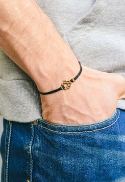 Men's bracelet black bracelet for men bronze paw charm vegan
