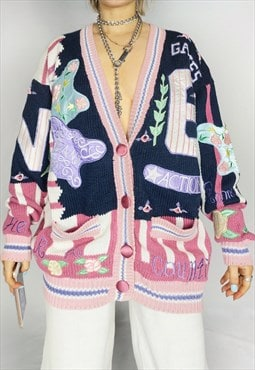 Insane Vintage 80s 90s Embroidered Knit Patterned Cardigan
