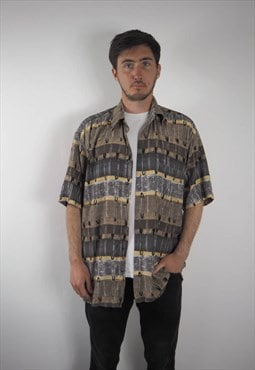 Vintage Abstract Khaki Hatico Shirt