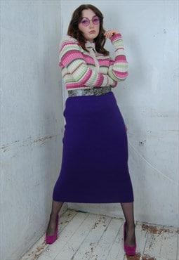 Vintage Bright Y2K Dark Purple Long Fitting Festival Skirts