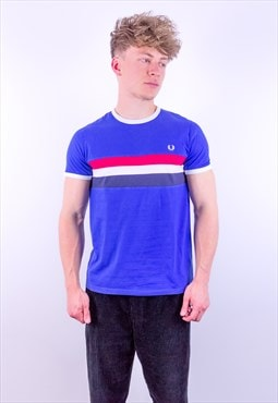 Vintage Fred Perry Striped T-Shirt in Blue