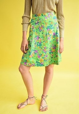 70's Hippie floral abstract print midi A line skirt