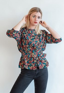 Vintage 80s puffer sleeve blouse with belt