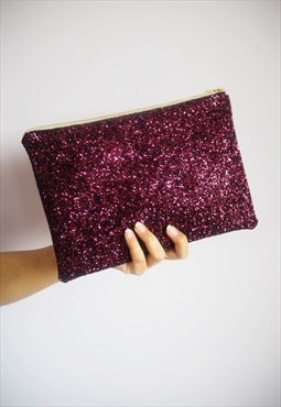 Glitter Clutch Bag in Plum