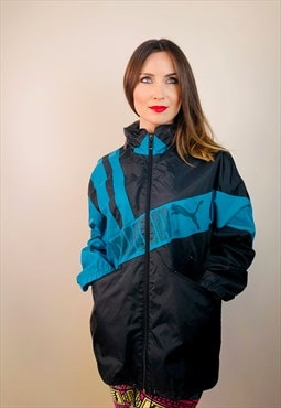 rain coat germany Puma black blue Jacket vintage retro 90s