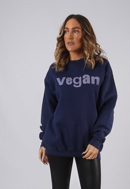 Vintage VEGAN Sweatshirt Print Oversized UK 16 (DL2C)