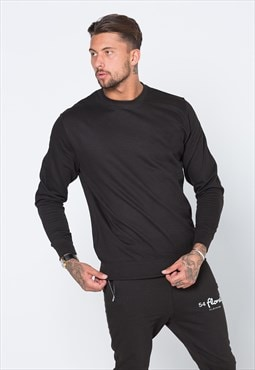 Staple Plain Blank Jumper Sweater - Washed Smoke Black