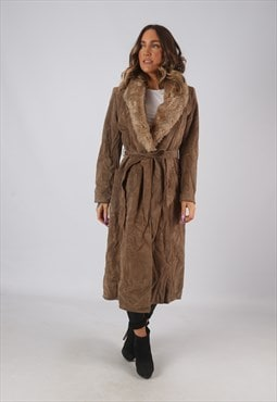 Suede Faux Sheepskin Coat Faux Fur Long Mid UK 8 (KDQ)