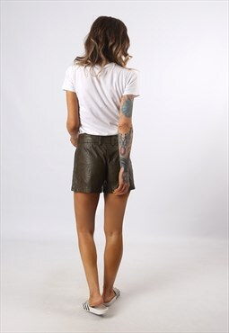 Mid-High Waisted Leather Shorts Bohemian UK 8 - 10 (K7CX)