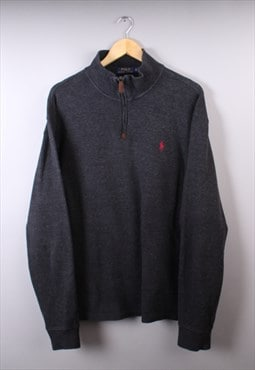 Vintage Mens Dark Grey Ralph Lauren Quarter Zip Jumper