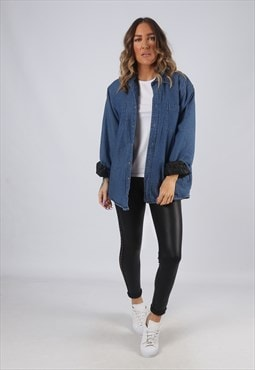 Denim Shirt Oversized Quilt Lined Plain Long  UK 14  (GK2P)