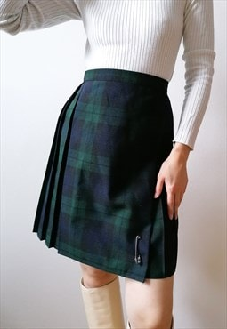 Vintage 90's Classy Pleated Tartan Print Mini Skirt