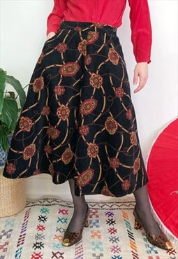 Vintage 70s black, orange & red corduroy midi skirt