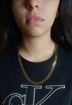 Chunky 24K Gold Vacuum Plated Curb Chain Necklace