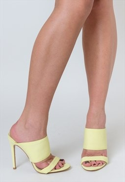 Perrie Heeled Mule in Yellow Lycra