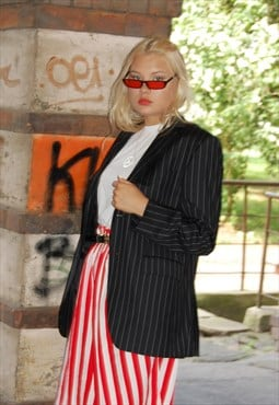 Vintage classic striped black blazer