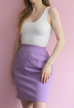 Vintage Lilac Purple Pencil Skirt