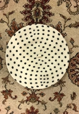 Cream New Wool polka dot Winter Beret