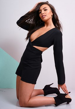 Black Long sleeve playsuit with gross front and cut back