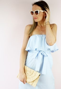 Blue Bandeau Frill Ruffle Button Midi Shirt Dress