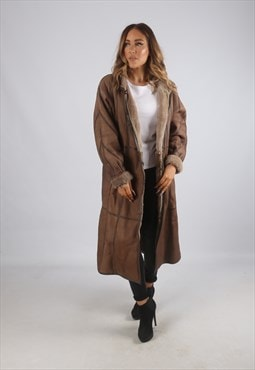 Vintage Sheepskin Leather Shearling Coat Long UK 14 (K9BN)