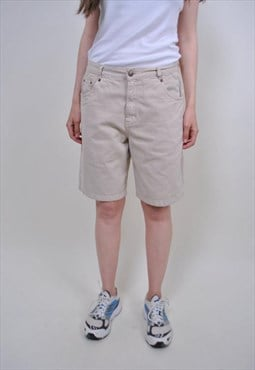 Vintage beige heritage shorts, 80s casual cotton shorts