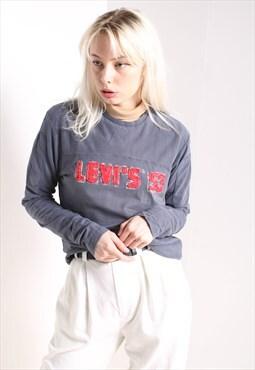Vintage Levis T-Shirt Long Sleeve Blue