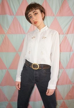Vintage 90s White Floral Embroidered Collarless Blouse