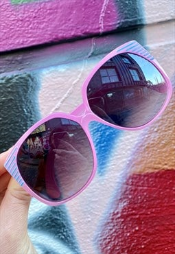 Vintage Inspired Sunglasses Big Square Shape w Pink Frame