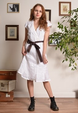 Vintage 90s  Midi Dress in White with Brown Belt