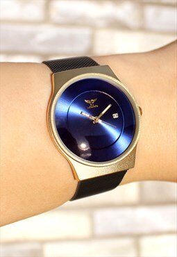 Slim Dark Blue Gold Watch with Date