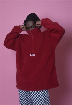 Oversized Fleece In Red With White Embroidery