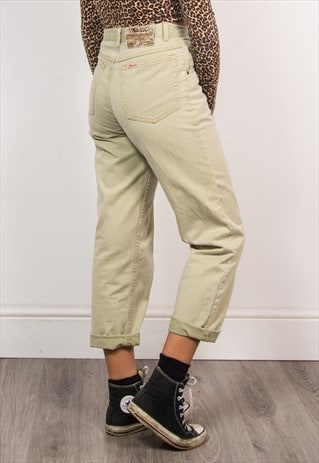 RETRO 90'S BEIGE HIGH WAIST MOM STYLE JEANS