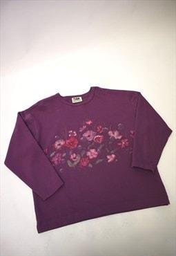 Vintage 90s Northern Reflections Purple Floral Jumper