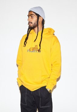 Hoodie in Yellow with Embroidered Tiger