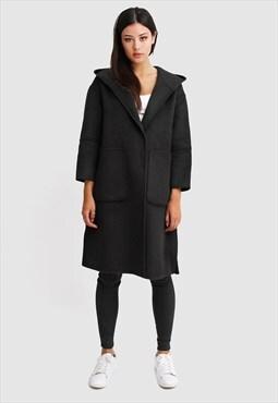 Walk This Way Wool Blend Oversized Coat - Black