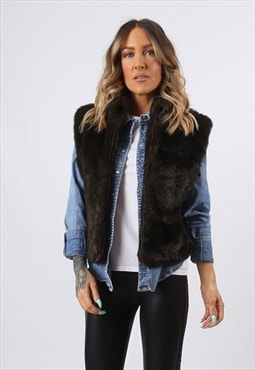 Faux Fur Gilet Waistcoat Jacket Plain UK 12 (E8CO)