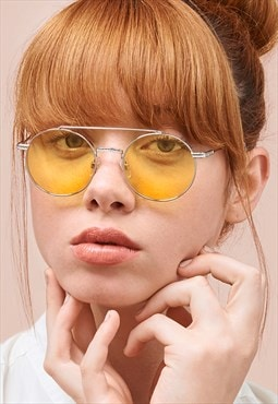 Ash Yellow Lens Round Metal Womens Sunglasses