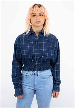 Reworked Vintage Cropped Corduroy Shirt In Navy