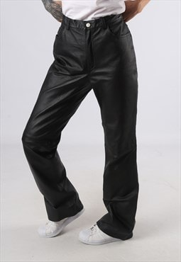 Leather Trousers High Waisted Bootcut LONG LEG UK 12 (EJ4D)