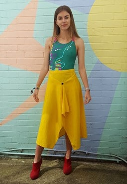 Skirt, vintage 80s, yellow, wrap style with button detail