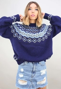 Vintage Oversized Chunky Knit Patterned Jumper