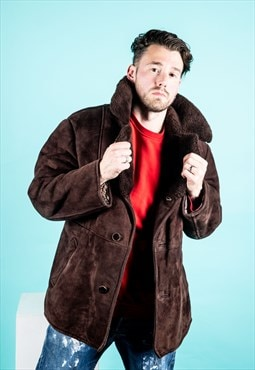 Vintage Shearling Sheepskin Coat in Brown Suede