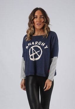 Vintage Cropped Sweatshirt Striped BICH ANARCHY Print (DLAR)
