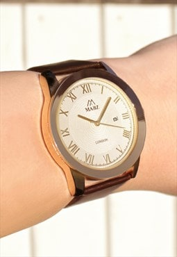 Gold Numeral Watch with Date