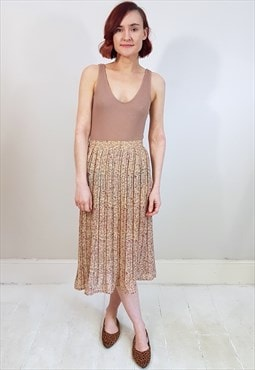 Vintage 90's Nude Pink and Green Floral Sheer Pleated Skirt
