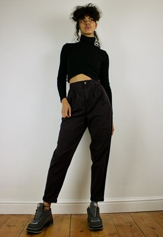 VINTAGE 80S HIGH WAISTED CROPPED TROUSERS BLACK