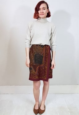 Vintage 90's Burgundy and Brown Baroque Pattern Wrap Skirt