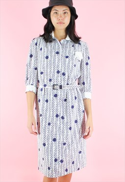 Vintage 90s Dress Polka Dot Midi Y2K White And Blue Preppy